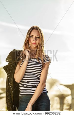 Woman Casual Style  On City Street