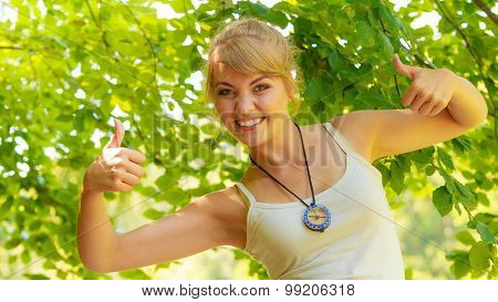 Young Hiker Woman With Compass In Forest
