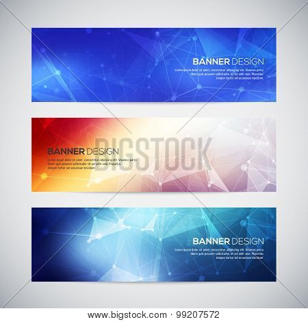 Vector banners set with polygonal abstract shapes, with circles, lines, triangles.