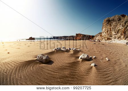 Beach named Praia do Tonel at sunny day. Portugal