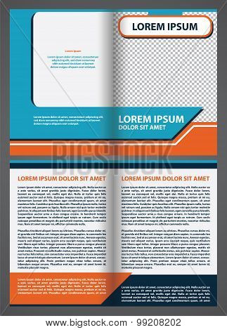 Vector empty brochure template design with blue and orange eleme
