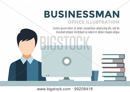 Businessman silhouette. Business man work infographic