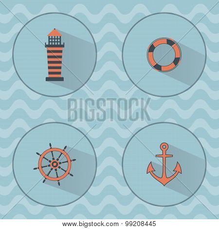 Marine Vector Icons With Shadows