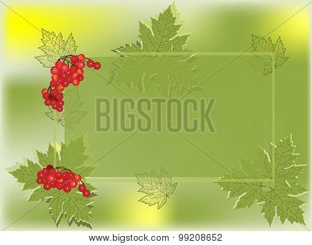 illustration with green autumn frame decorated by red berries