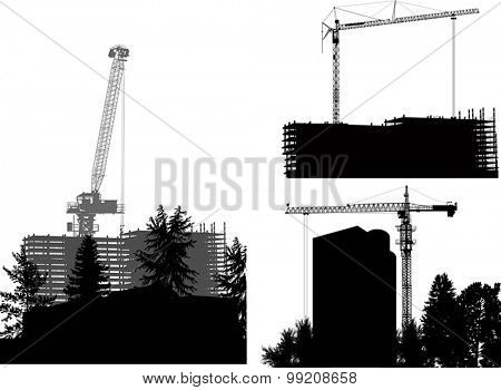 illustration with tower cranes and buildings on white background