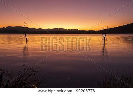 Colourful sunset at Lake Moogerah in Queensland