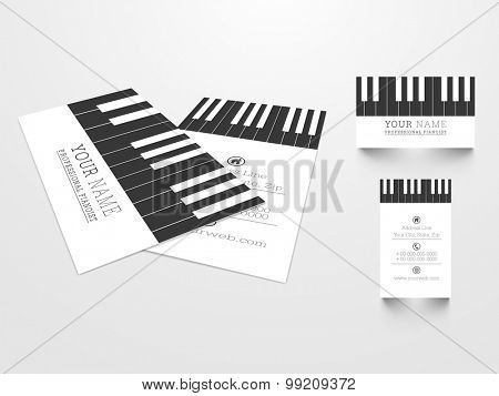 Creative business card set with illustration of piano keys for Music concept.