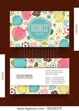 Colorful flowers decorated business or visiting  card for design studio or creative industry.