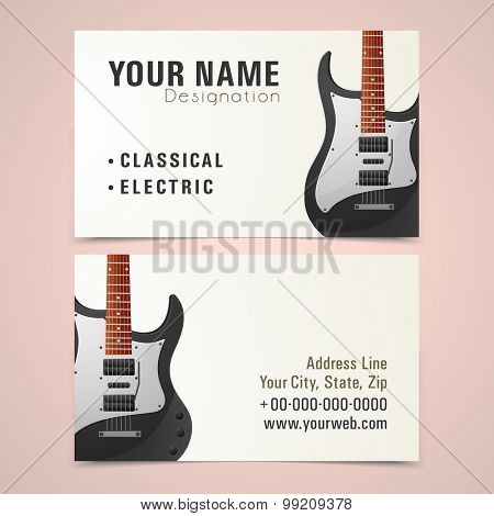 Creative business card set with illustration of a stylish guitar for Music.