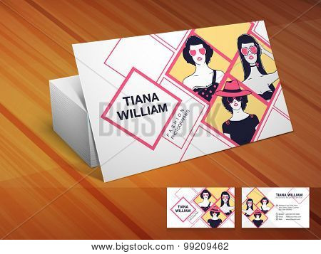 Stylish business card set with illustration of young modern girls for Fashion.