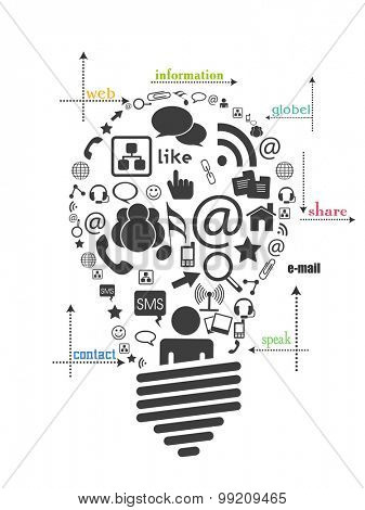 Black and white illustration of a light bulb with various social media symbols or technology and idea concept.