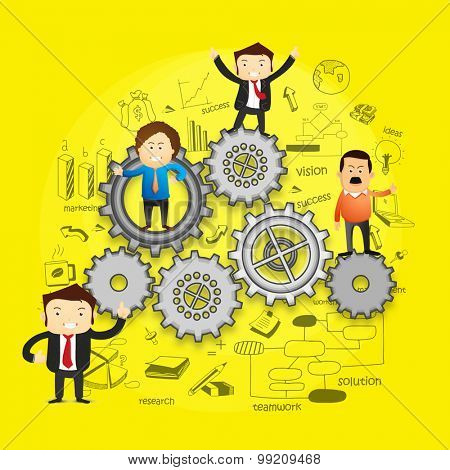 Illustration of business people standing on cog wheels with various infographic elements.