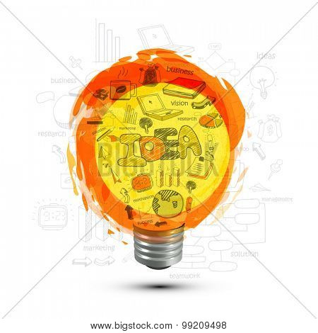 Creative illustration of bulb made by various business infographic elements for Idea concept.