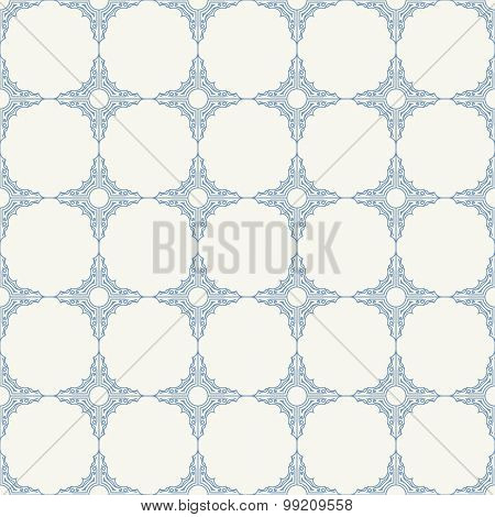 Seamless background in Arabic style. Blue patterns in white wallpaper for textile design. Classic oriental decor