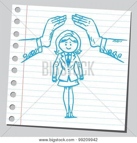 Hands protecting businesswoman