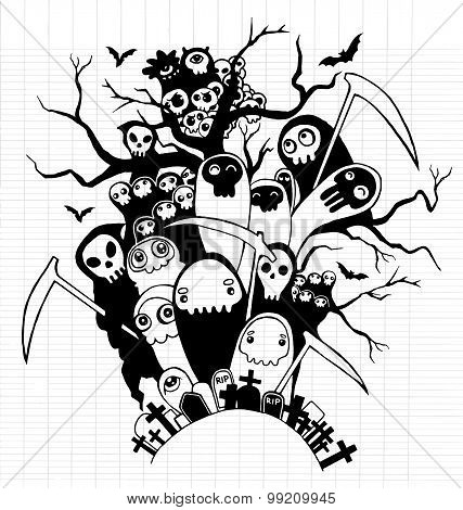 Hand Drawn Cute Death Skeleton Characters For Halloween