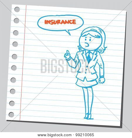 Businesswoman insurance agent speaking word insurance