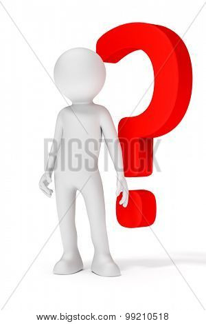 An image of a white man with a red question mark