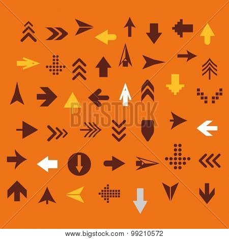 Arrow sign silhouettes collection retro style