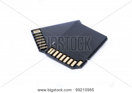Media SD cards isolated on white background closeup