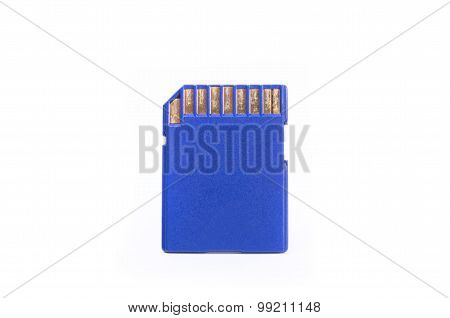 Media Sd Card Close Up Isolated On White