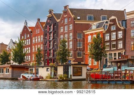 Amsterdam canal and typical house, Holland