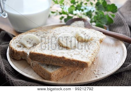 Banana With Bread For Breakfast