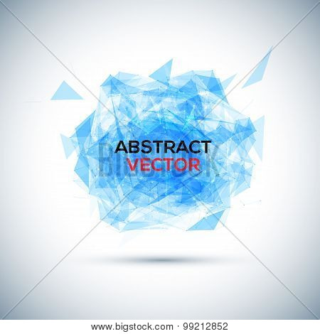 Abstract blue geometric explosion. Vector speech buble.