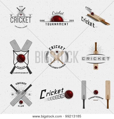 Cricket badges logos and labels for any use