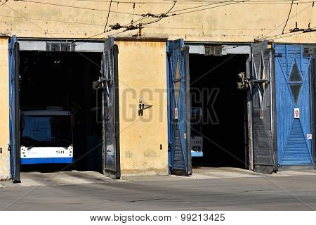 ST. PETERSBURG, RUSSIA - AUGUST 17, 2015: Trolley bus depot during the demonstration of the new cashless ticketing system supported MasterCard PayPass technology