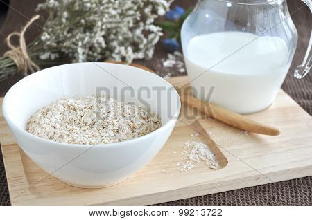 Oatmeal On Wooden Tray