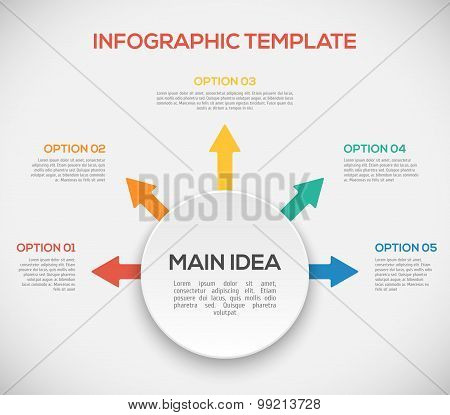 Infographics template with arrows and 3D circle. Different Way Infographics.