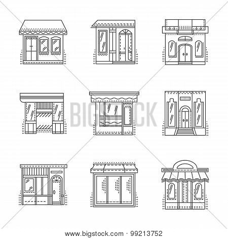 Store and shops line vector icons set