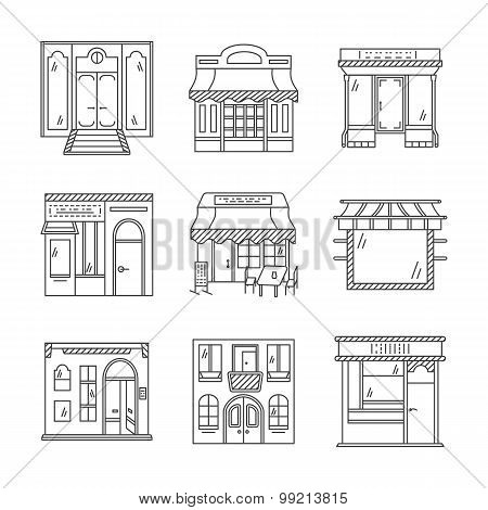 Linear vector icons for storefronts