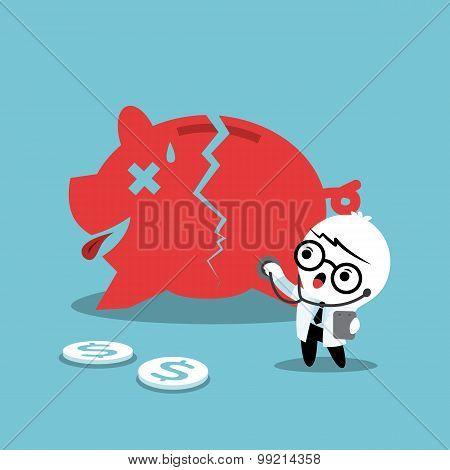 Doctor Examining A Broken Piggy Bank