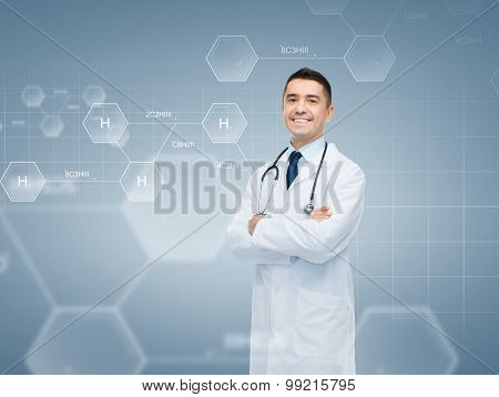 chemistry, biology, people and medicine concept - smiling male doctor in white coat over chemical molecule formula on gray background