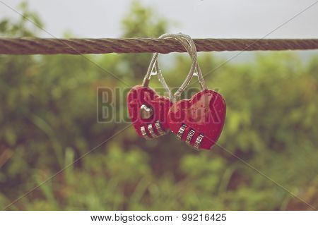 Couple Of Red Padlock With Water Drop In Vintage Style