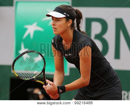 Grand Slam champion Ana Ivanovich during fourth round match at Roland Garros 2015