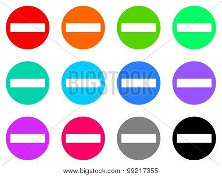 minus flat design modern vector circle icons colorful set for web and mobile app isolated on white background