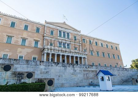 The Greek Parliament Building at the Syntagma Square, Athens Greece