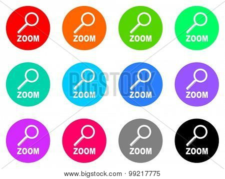 zoom flat design modern vector circle icons colorful set for web and mobile app isolated on white background