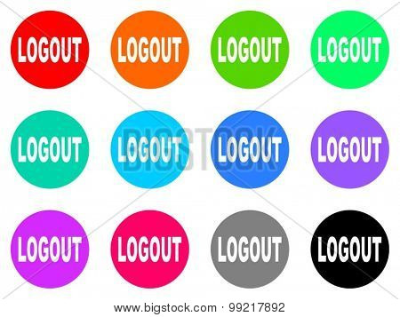 logout flat design modern vector circle icons colorful set for web and mobile app isolated on white background