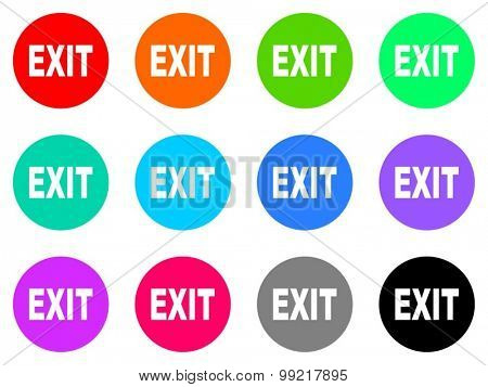 exit flat design modern vector circle icons colorful set for web and mobile app isolated on white background