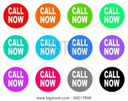 call now flat design modern vector circle icons colorful set for web and mobile app isolated on white background