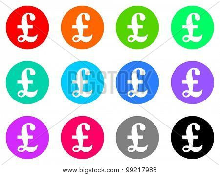 pound flat design modern vector circle icons colorful set for web and mobile app isolated on white background