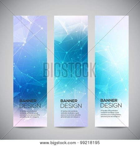 Vector vertical banners set with polygonal abstract shapes, with circles, lines, triangles. Polygona