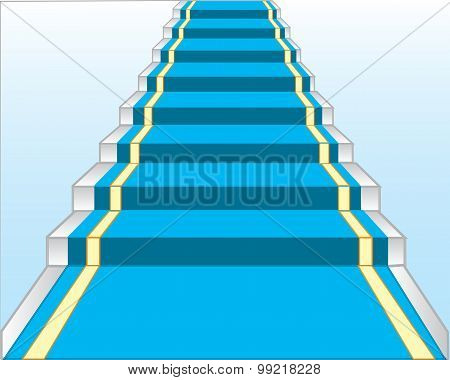Stairway with blue track