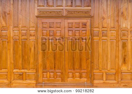 Wooden Window On A Wooden Wall.