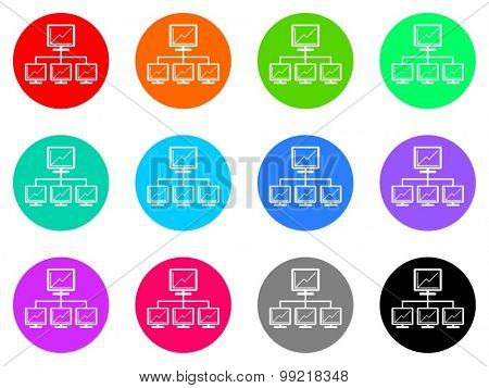 network flat design modern vector circle icons colorful set for web and mobile app isolated on white background