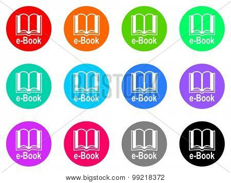 book flat design modern vector circle icons colorful set for web and mobile app isolated on white background